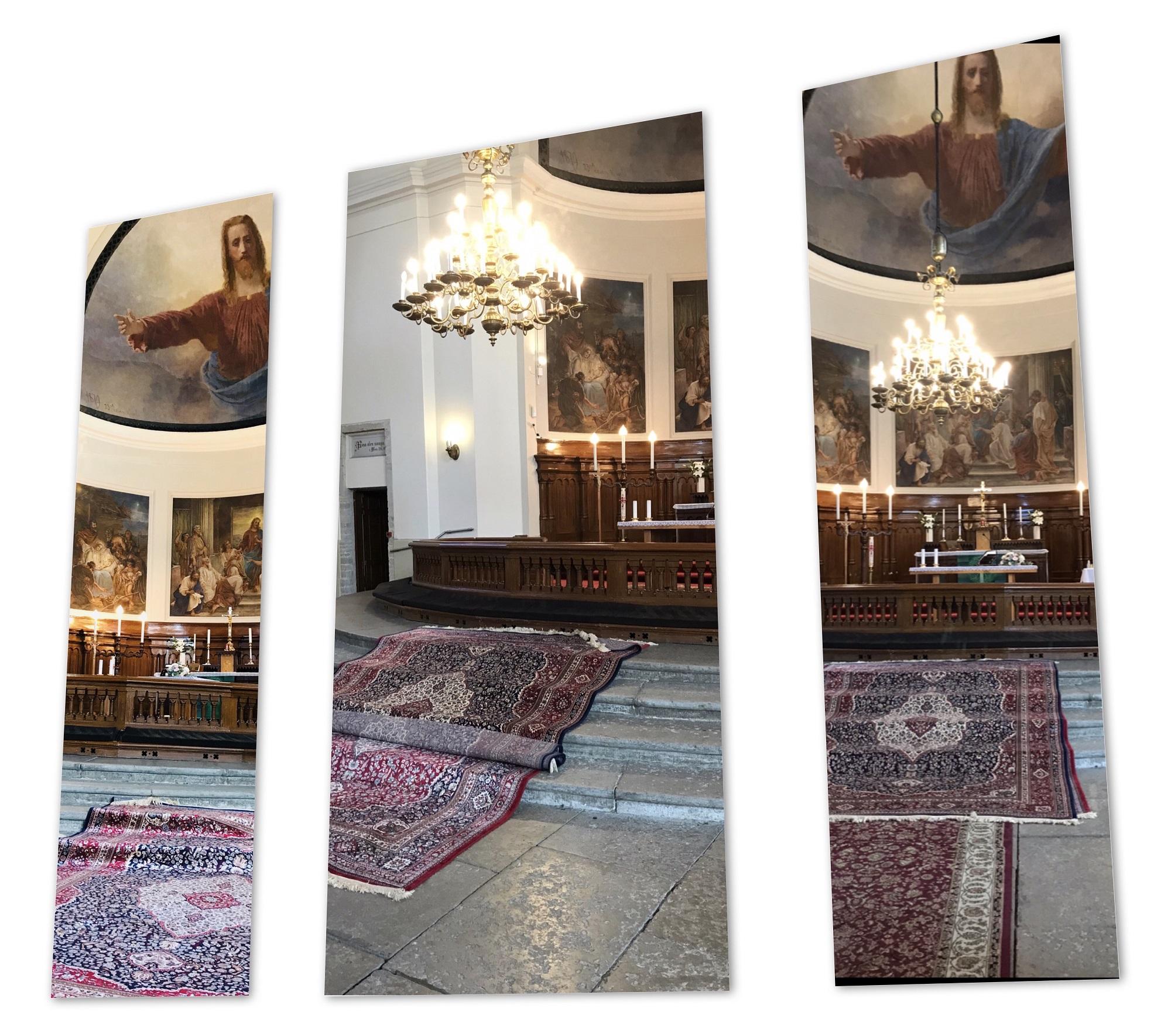 Vaipade sobitamine Kaarli kirikus